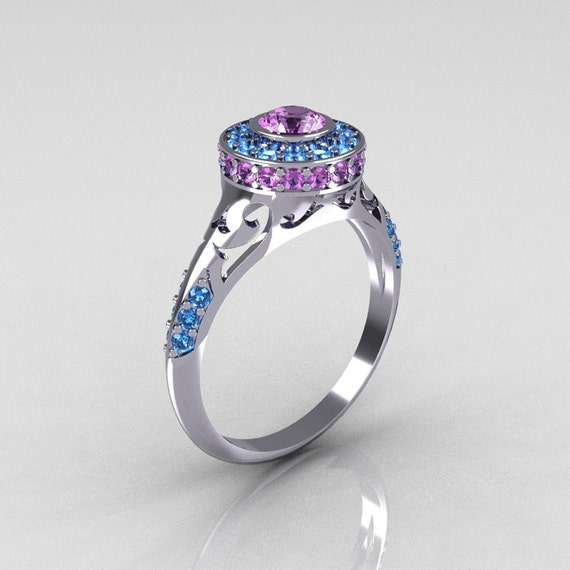 Modern Antique 950 Platinum Lilac Amethyst Aquamarine Exclusive Wedding Ring, Engagement Ring R191-PLATAQLA