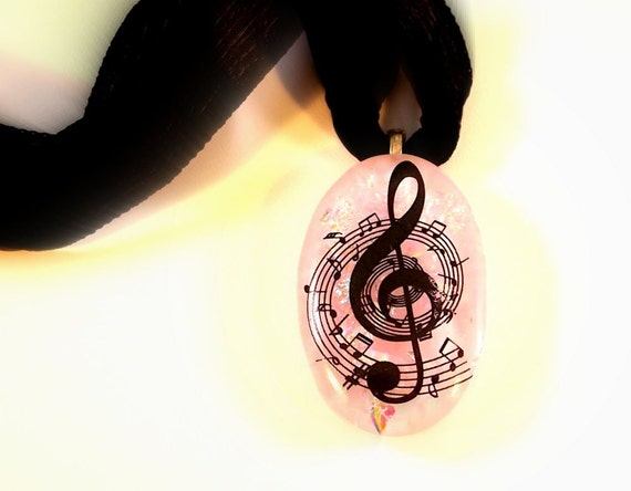 Musical Fused Glass Pendant Dichroic Glass Necklace Treble Clef