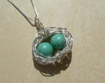 2 Eggs Birds Nest Sterling Silver