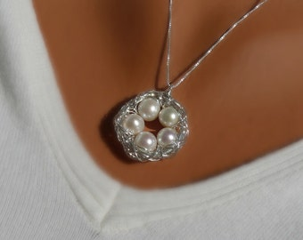 5 Eggs Bird's Nest Necklace & Chain - Argentium Sterling Silver Pendant