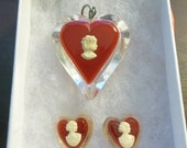Vintage Lucite Heart Pendant and Clip Earrings