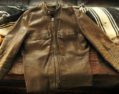 Vintage Leather jacket 60's Kehoe Cafe Racer very cool brown distressed leather jacket sz 40 nicest patina FREE shipping USA