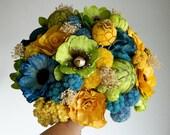 Tropical Ocean - Teal Blue Green Yellow Bouquet