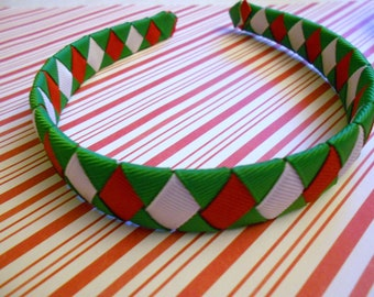 Red, green and white Christmas woven headband