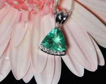 Sea Foam Green Jewelry, Triangle Gold Pendant, Natural Green Fluorite, 14k Gold Diamond Pendant, Custom Made Jewelry, Handmade Jewelry