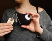 FALL COLLECTION: Shadow Birdy iloveyoumonster in black fleece - small monster plushie