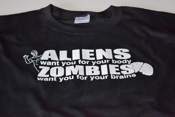 Funny Aliens Zombies geek t shirt mens clothing gift brains body horror creatures guy geekery tshirt teen boys kids dead humans gift