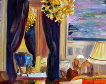 YSL LOUNGE~ Art Print of original oil painting by Cecilia Rosslee