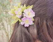 Green and Purple Flowers French Barrette. Hair Accessories. Autumn Wedding. Bridesmaids Hair. Fall Wedding. Rustic Wedding.