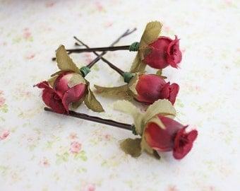 Burgundy Marsala Hair Clips, Flower Hair Pin, Weddings. Bridesmaids. rustic, Hair Accessories. Fall, marsala wedding, Autumn Wedding.