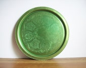 Green Aluminum Tray, Vintage Serving Tray