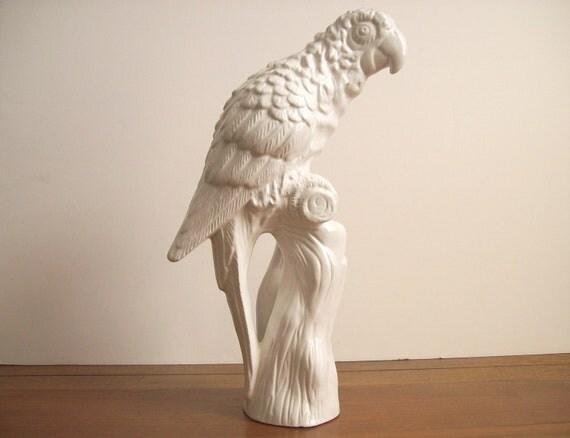 Large White Parrot Statue Figurine Ceramic Bird