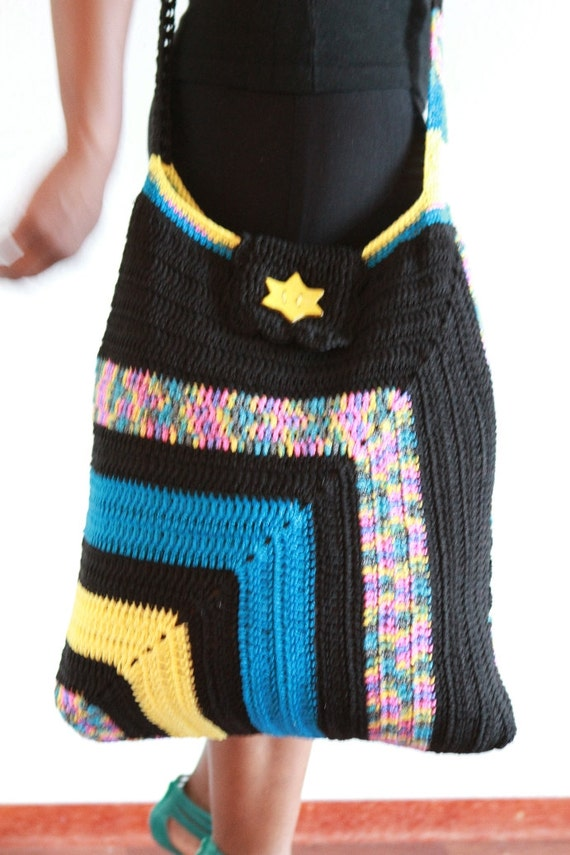 Crochet tote / bag colourful mix of black, yellow, turqouise and mix coloured cotton yarn