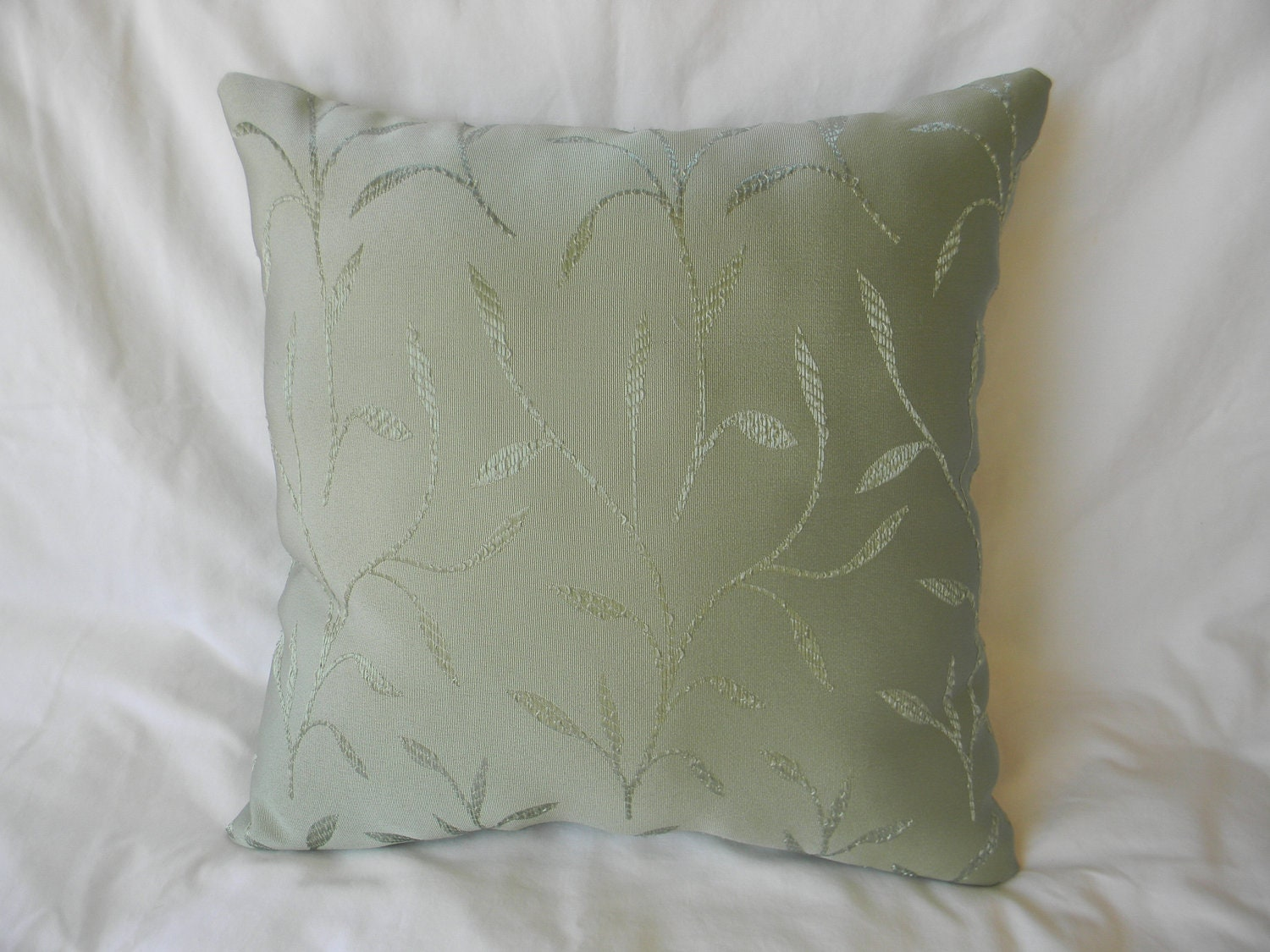 Throw Pillows For Sage Green Couch : Accent Pillow Square Sage Green with Ornamental Grass Design