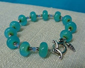 Blue Green Glass and Silver Bracelet with Tiny Seashell Charm, One of a Kind