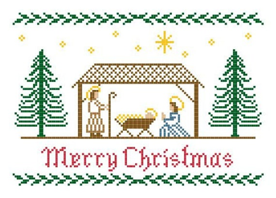 Christmas Nativity Cross Stitch Pattern - Merry Christmas with Manger and Pine Trees - Instant Download PDF