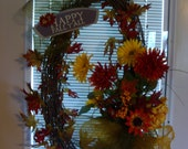 Fall / Thanksgiving Wreath  with free door holder