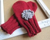 Red Mittens With Grey Flower- Womens