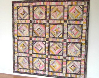 "Retro String Quilt, Garden Lattice Quilt, Pastel Quilt, 73"" x 72,"" Multi Fabrics, Twin Bed Quilt, Large Wall Quilt, Quiltsy"