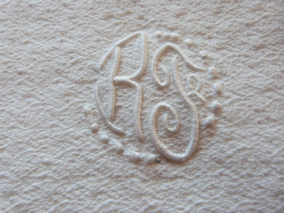 6 Antique French hand towels hand monogrammed RJ in white, unused bathroom bath towels w monograms and drawnwork, vintage French linens
