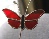 Scarlet Red Cathedral Butterfly - Stained Glass 5 Piece- Garden - Potted Plant Stake