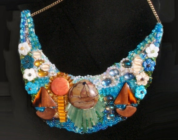SALE Beaded Bib Necklace of 3 Sailboats on Lake w/ Waves at Sunrise, Fluffy White Clouds & Flowers Hanging. All Painted with Beads. 59.90
