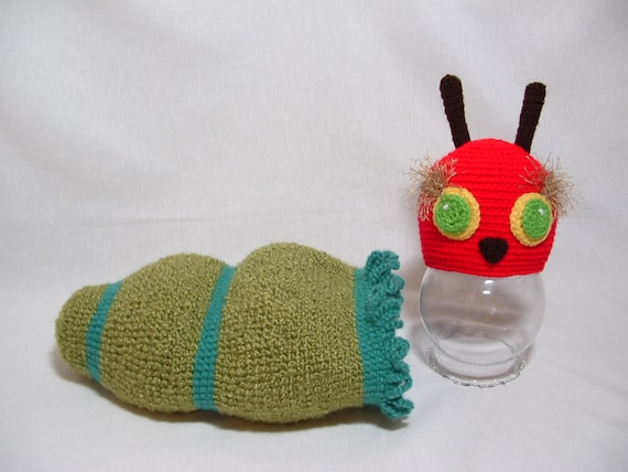 Very Hungry Caterpillar Hat and Rafle Cocoon, Fuzzy Eyebrow ,Baby Shower Gift , Photo Prop  ( 0 - 3 m )