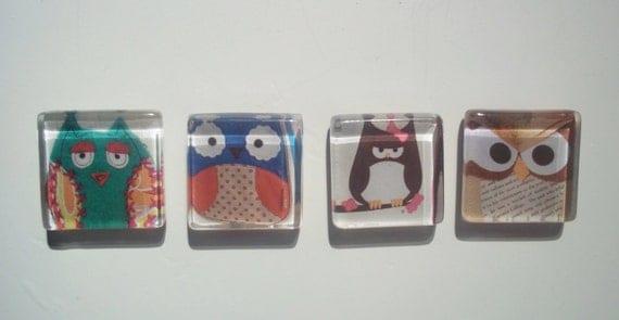 75% Off - 4 Piece Glass Magnet Set - Owl Print - Glass Frige Magnet - 7/8 Glass Square Magnet - Magnet Set Glass