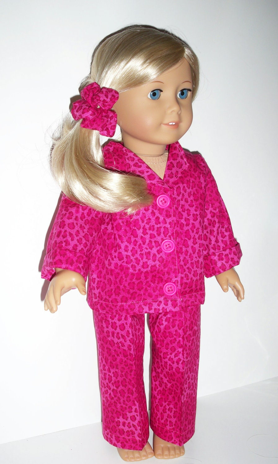 18 Inch Doll Clothes Plaid Pajamas with Teddy Bear | Fits