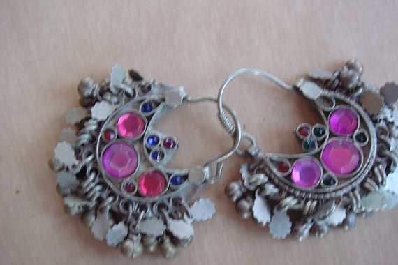 Vintage Afghani Tribal Kuchi Large Dangle Earrings Or Hair Rings Ornaments
