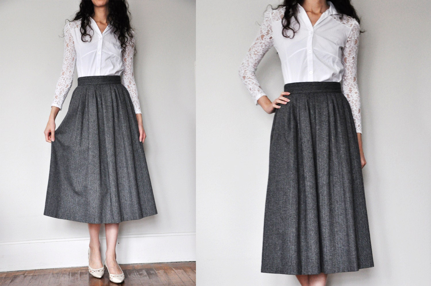 Vintage Herringbone Wool Skirt Long Black Grey White / size