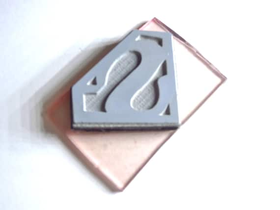 "Superman Logo Stamp - X- Small Rubber Stamp on round wood plug 0.5"" Retiring this size.. last 2 left"