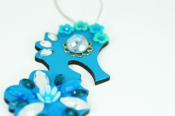 Seahorse Christmas Ornament Jeweled Wood Hand Painted Blue