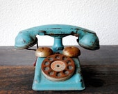 Vintage Tin Toy Telephone, Blue Chime Rotary Tele, Antique Metal Industrial Decor