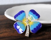 Lucky Clover Shamrock Pin Brooch, AB Crystal Unique St Patricks Day Blue Green Tie Dyed Enameled
