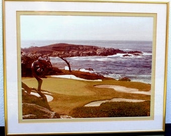Vintage Golf Photo, Framed Pebble Beach Course Original Photograph, Man Cave Decor 11x14 Matted