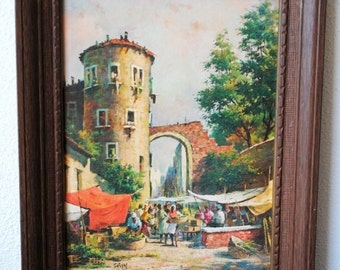 Vintage Framed Art Painting Market Scene Lithograph, Mid Century Decor