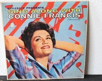 Connie Francis Sing Along LP Record Album, 1950s Mati Mor Superecords,  Presented by Brylcreem Advertising