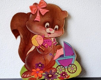 Girls Room Decor Nursery Wall Plaque, Squirrel Baby Doll & Buggy, Vintage Kitsch