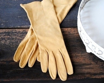 Vintage Kid Leather Gloves, Long Camel Roger Fare France, 1960s French Fashion Neiman Marcus