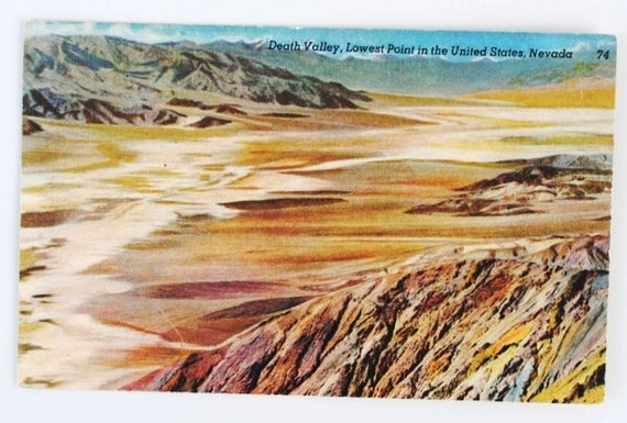 1940s Linen Postcard Death Valley Desert Nevada, Unused Old Post Card