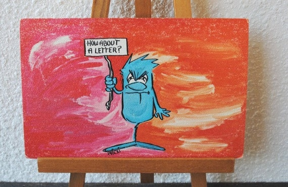 Vintage Artist Signed Postcard Art, Comic Odd Angry Blue Man with Sign, 1980s Arioli Unused Post Card