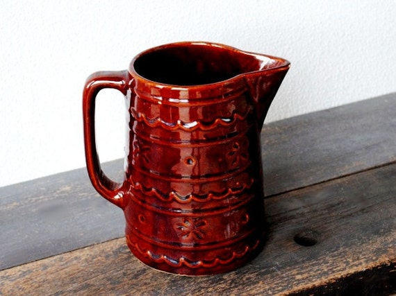 Old Stoneware Water Jug Pitcher Mirror Brown By