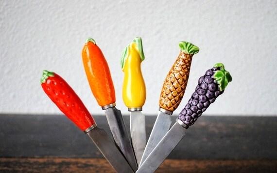 Vintage Cheese Knife Spreader Snack Set Unique Ceramic Fruit