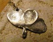 Fingerprint Clover Charm - Three Fingerprints - 18 inch sterling chain
