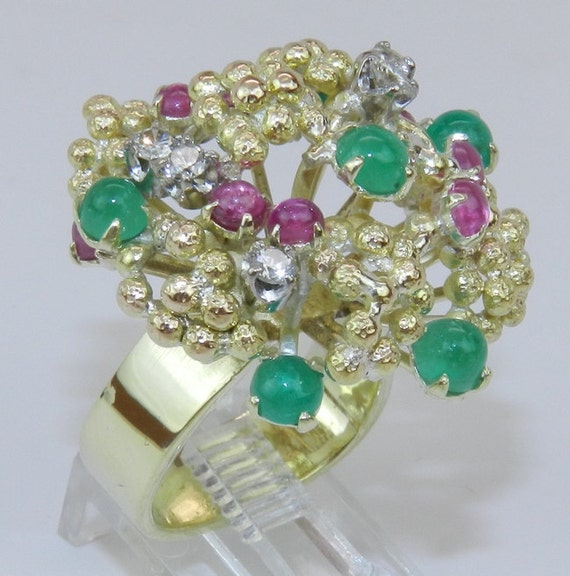 Diamond Ruby Emerald Statement Cluster Ring Estate Vintage 14K Yellow Gold 1950's Size 5