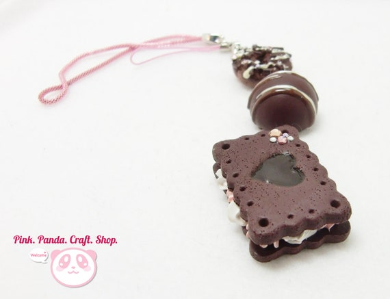 Polymer clay chocolate lover phone charm / keychain