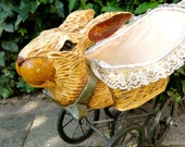 Vintage Doll' s Baby Carriage Rabbit  Pram Pushchair  Buggy