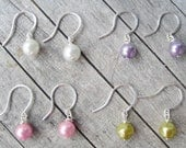 Pearl Earring - jewelry - earrings - dangle - drop - Pink Pearl - Lime Pearl - White Pearl - Purple Pearl - wire wrap - wedding - bridemaid