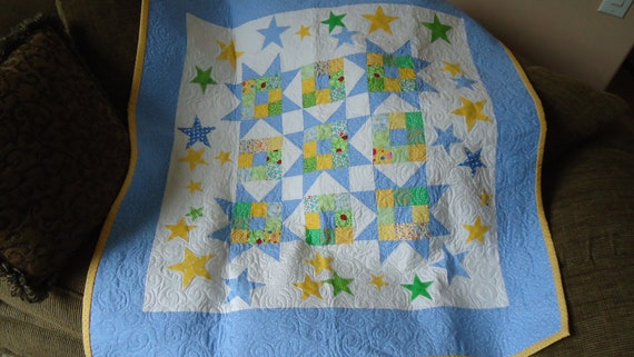 Stars and Stars Baby Quilt 41 inch square